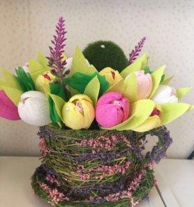 Корзинки из бумажных цветов