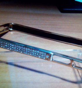 Бампер, Золото с кристалами Swarovski iPhone 4/4s