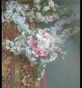 Свадебное платье+украшения на машину