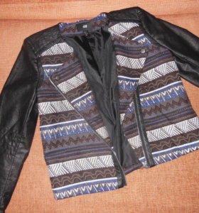 Куртка с кожаными рукавами H&M