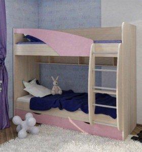 Кровать детская двухъярусная новая розовая