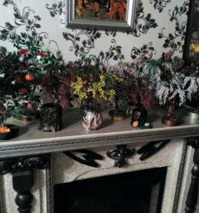 Деревья из бисера на подарок или сувенир .