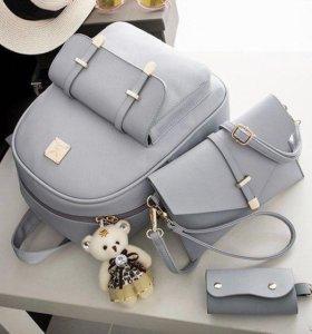 Набор рюкзак, сумка через плечо, ключница