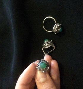 Серебряный набор (серьги, кольцо)