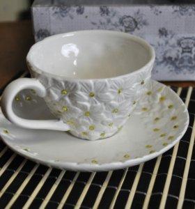 Чашка с блюдцем со стразами