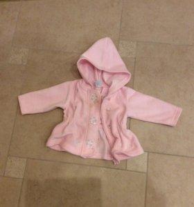 Детская курточка флисовая, на 6-9 мес