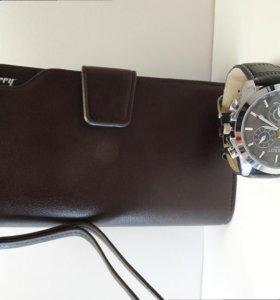 Мужской клатч и часы