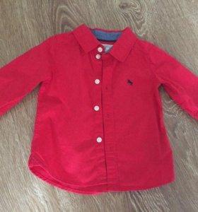 Рубашка HM красная новая 68р. 4-6 мес