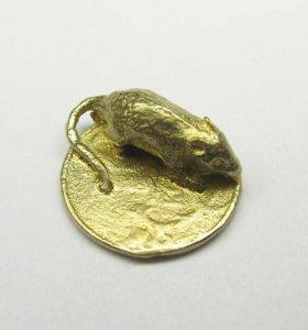 Мышка на монете, денежный сувенир,кошельковая мышь