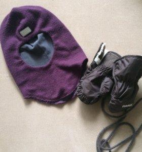 Шапка-шлем и варежки на годик