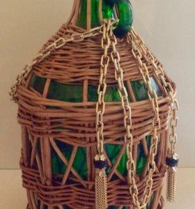 Бутыль декоративная в оплётке ваза 3 л