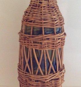 Бутыль декоративная в оплётке ваза 0.75 л