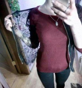 Кружевная кофта,бордовая кофта,и джинсы