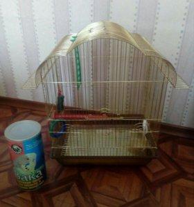 Клетка для попугаев+корм
