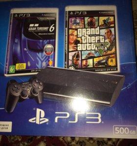 PS3 500gb + 15 игр