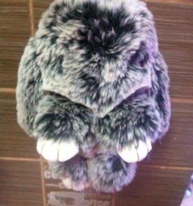 Кролик брелок из натурального меха кролика рэкс