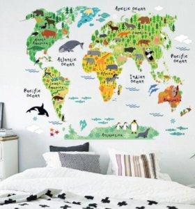 """Наклейка на стену """"карта мира"""""""