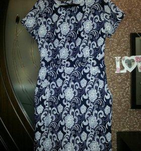 Платье, 46 размер. Имитация кружева, черно-белое,