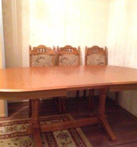 Стол +стулья дерево орех
