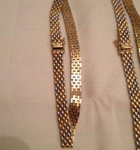 Комплект серебро с позолотой: колье, браслет