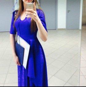 Шикарное платье василькового цвета