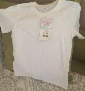 Новая белая футболка 128 р-р