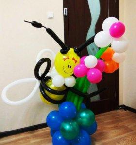 Оформление шарами( фигуры любой сложности)