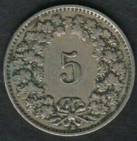 Швейцария 5 раппов 1929