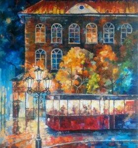 Ночной трамвай, 80х140см, картина маслом на холсте