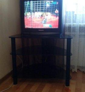 Тумба (столик) для TV телевизора из черного стекла