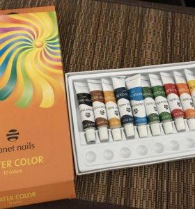 Акриловые краски для дизайна ногтей.