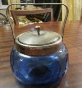 Сахарница синяя СССР стекло мельхиор 1950-е гг