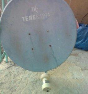 Телекарта тарелка.ресервер,пульт,кабеля