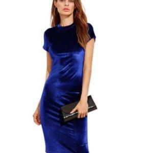 Синее платье бархат