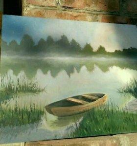 "Картина маслом ""тихий вечер у реки"""