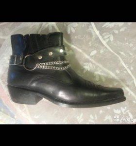 Ботинки зимние ковбойские чёрные натур кожа мех