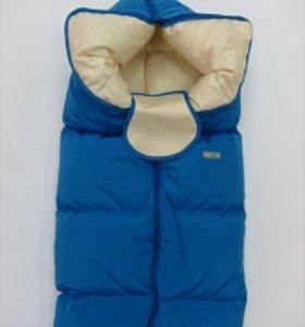 Продам пуховое одеяло конверт ярко синее