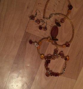Набор, Серги, браслеты и бусы