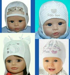 Шапки для новорожденных девочек с 38см-42см