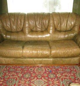 Диван и 2 кресла кожа