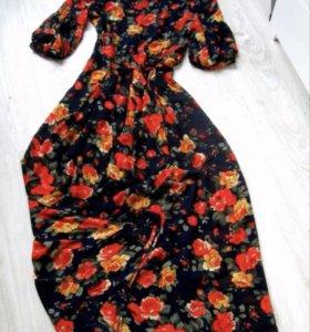 Платье шифон на подкладе цветочный принт
