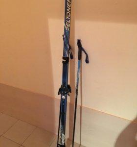 Лыжи пластиковые, крепления, палки