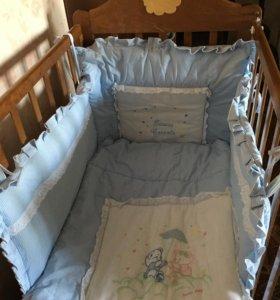 Бампер , бортики , одеяло в детскую кроватку