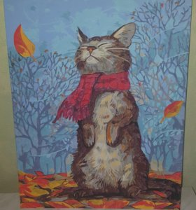 Картина акрилом, кот осенью