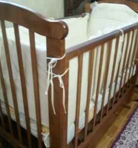кровать качалка, матрац, боковинки