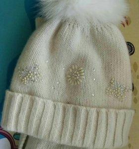 Комплект шапка и шарф молочный