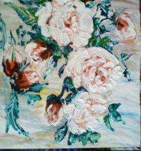 Розы маслом картина