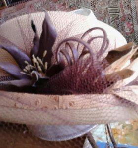 Шляпка с вуалью и цветами из кожи, хэндмейд