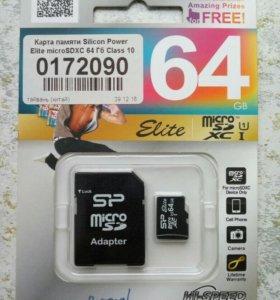 Карта памяти Silicon Power Elite microSDXC 64 gb