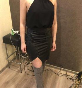 Платье новое кожзам+шифон